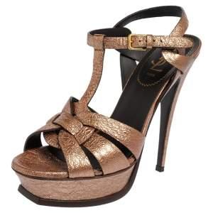 Saint Laurent Bronze Textured Leather Tribute Platform Sandals Size 39