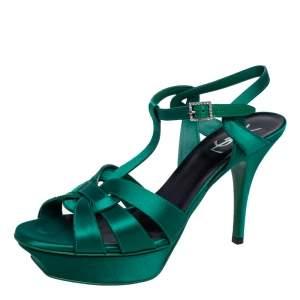 Saint Laurent Green Satin Tribute Platform Sandals Size 40