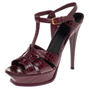 Saint Laurent Burgundy Croc Embossed Leather Tribute Platform Sandals Size 39.5