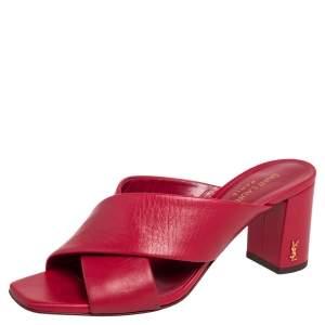 Saint Laurent Red Leather LouLou Sandals Size 37.5