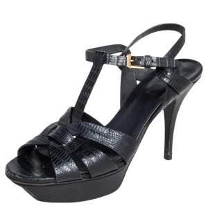 Saint Laurent Black Lizard Embossed Leather Tribute Platform Sandals Size 39