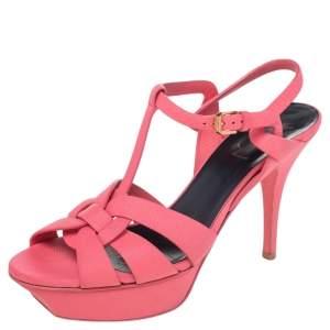 Saint Laurent Pink Leather Tribute Platform Sandals Size 39
