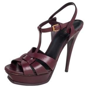 Saint Laurent Burgundy Leather Tribute Platform Sandals Size 40.5