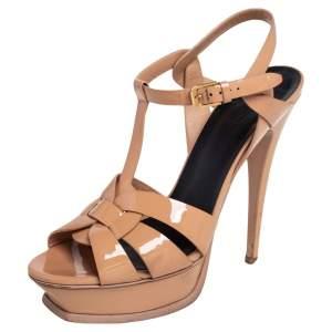 Saint Laurent Beige Patent Leather Tribute Platform Sandals Size 39