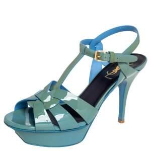 Saint Laurent Blue Patent Leather Tribute Sandals Size 37.5
