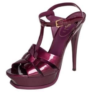 Saint Laurent Burgundy Patent Leather Tribute Platform Sandals Size 39.5