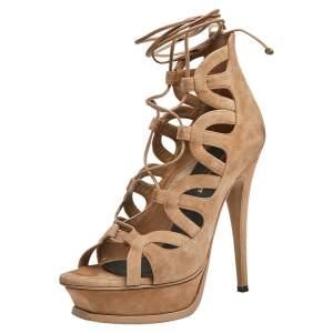 Saint Laurent Beige Suede Gladiator Platform Sandals Size 37