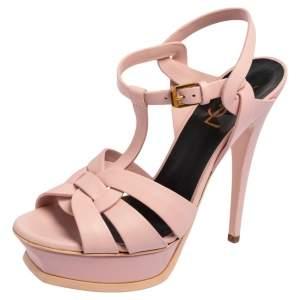 Saint Laurent Pink Leather Tribute Ankle Strap Sandals Size 38