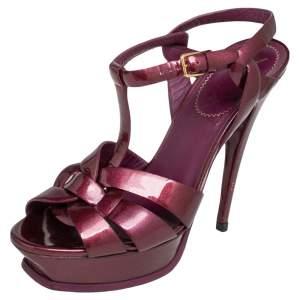 Saint Laurent Purple Patent Leather Tribute Sandals Size 39.5