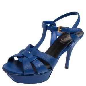 Saint Laurent Blue Leather Tribute Platform Sandals Size 37