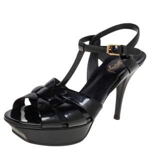 Saint Laurent Black Patent Leather Tribute  Sandals Size 39.5