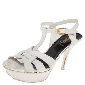 Saint Laurent White Leather Tribute  Sandals Size 36