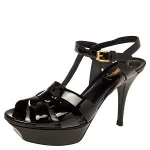 Saint Laurent Black Patent Leather Tribute  Sandals Size 37