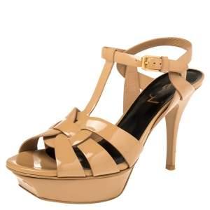 Saint Laurent Beige Patent Leather Tribute  Sandals Size 37.5