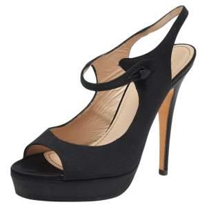 Saint Laurent Black Satin Ankle Strap Sandals Size 35.5