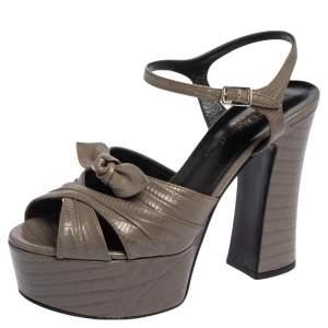 Saint Laurent Grey Lizard Embossed Candy Platform Ankle Strap Sandals Size 37