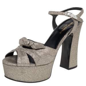 Saint Laurent Metallic Silver Leather Candy Ankle Strap Platform Sandals Size 39.5
