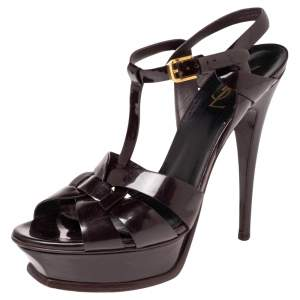 Saint Laurent Dark Burgundy Patent Leather Tribute Platform Sandals Size 39.5