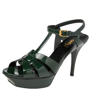 Saint Laurent Dark Green Patent Leather Tribute Sandals Size 38.5