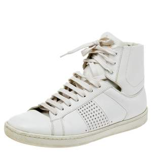 Saint Laurent White Leather Signature Court Classic SL/01H High Top Sneakers Size 37.5