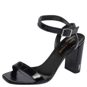Saint Laurent Black Croc Embossed Leather Loulou Ankle Strap Sandals Size 36.5