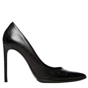Saint Laurent Paris Black Leather Pointed Toe Pumps Size EU 40