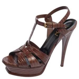Saint Laurent Brown Lizard Embossed Leather Tribute Platform Sandals Size 39