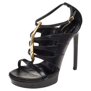 Saint Laurent Black Leather Strappy Sandals Size 36