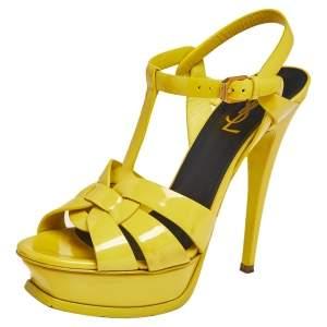 Saint Laurent Yellow Patent Leather Tribute Sandals Size 37.5