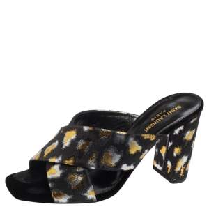 Saint Laurent Metallic Tri Color Criss Cross Mules Block Sandals Size 40