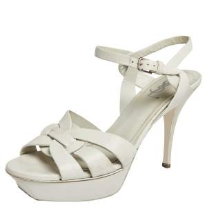 Saint Laurent White Textured Leather Tribute Platform Ankle Strap Sandals Size 41