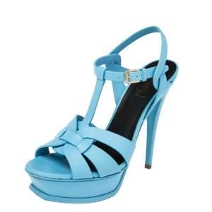 Saint Laurent Blue  Leather Tribute Platform Sandals Size 39.5
