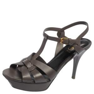 Saint Laurent Grey Leather Tribute Platform Ankle Strap Sandals Size 40