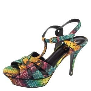 Saint Laurent Multicolor Snakeskin Embossed Leather Tribute Platform Sandals Size 38