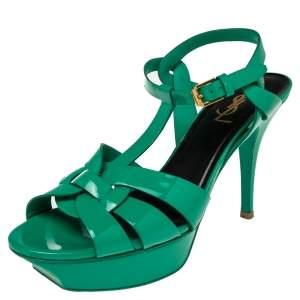 Saint Laurent  Green Patent Leather Tribute Sandals Size 38.5