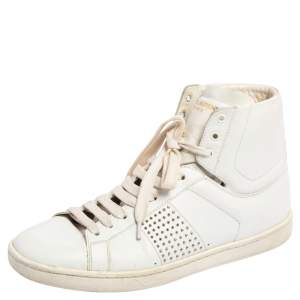 Saint Laurent White Leather Studded High Top Sneakers Size 37