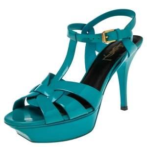 Saint Laurent Blue Patent Leather Tribute Sandals Size 37