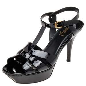 Saint Laurent Paris Black Patent Leather Tribute Platform  Sandals Size 38