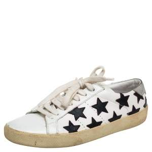 Saint Laurent White Leather Star Court Classic California Sneakers Size 37