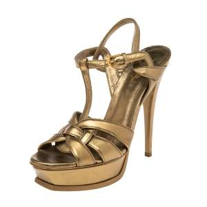 Saint Laurent Metallic Bronze Leather Tribute Sandals Size 39