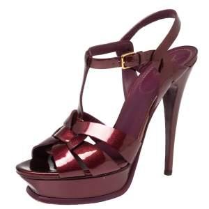 Yves Saint Laurent Burgundy Textured Patent Leather Tribute Platform Sandals Size 40