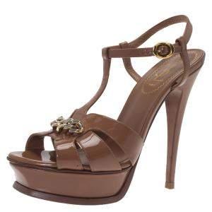 Saint Laurent Paris Brown Patent Tribute Chain Detail Platform Sandals Size 37.5