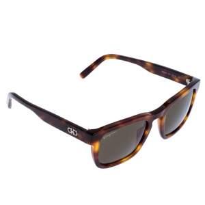Salvatore Ferragamo Brown/Green Tortoise SF827S Square Sunglasses