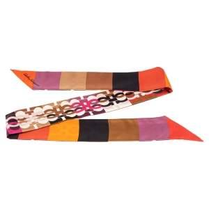 Salvatore Ferragamo Multicolored Mosaico Gancini Silk Twilly