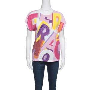Salvatore Ferragamo Multicolor Printed Sequined Embroidered T-Shirt S