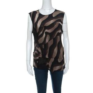 Salvatore Ferragamo Brown Animal Print Lace Insert Silk Top L