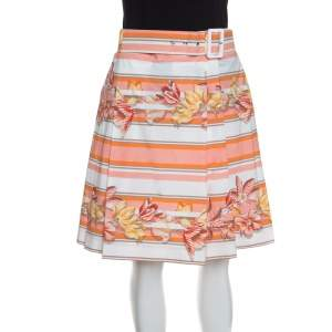 Salvatore Ferragamo Multicolor Printed Cotton Belted Pleated Skirt S