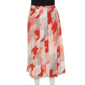 Salvatore Ferragamo Multicolor Houndstooth Pattern Pleated Silk Skirt L