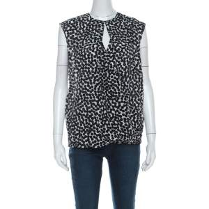 Salvatore Ferragamo Monochrome Polka Dot Silk Sleeveless Draped Top S