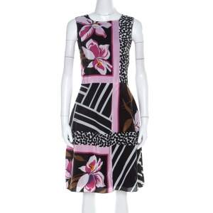 Salvatore Ferragamo Multicolor Floral Print Silk Sleeveless Fit and Flare Dress S